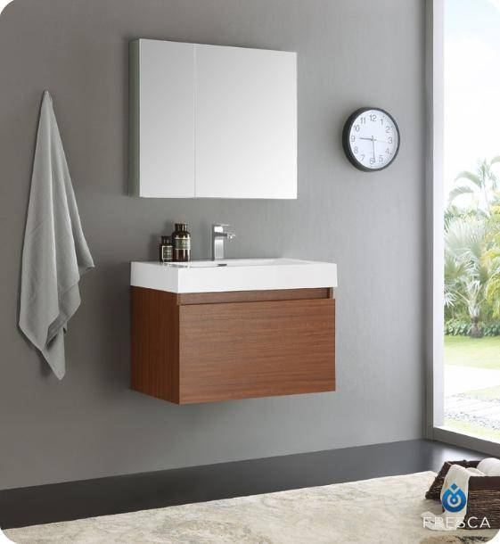 "Fresca Mezzo 30"" Teak Wall Hung Modern Bathroom Vanity with Medicine Cabinet - Bathroom Vanity Portal"