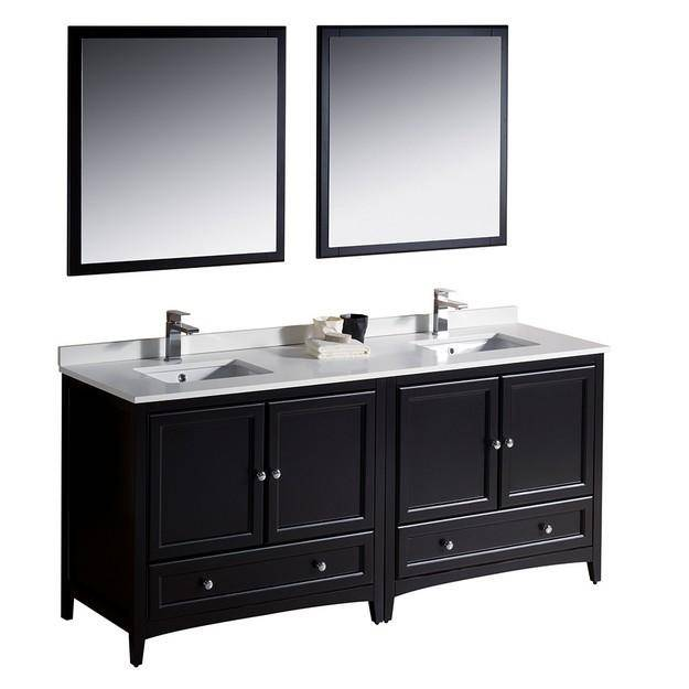 "Fresca Oxford 72"" Espresso Traditional Double Sink Bathroom Vanity - Bathroom Vanity Portal"