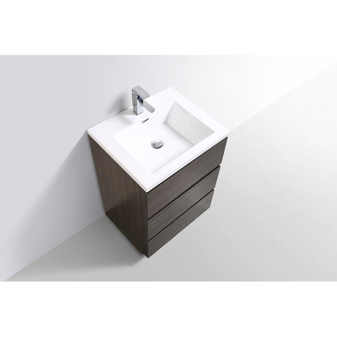 Moreno Bath Angeles 23.5 Inch Dark Grey Oak Modern Vanity with Reinforced Acrylic Sink
