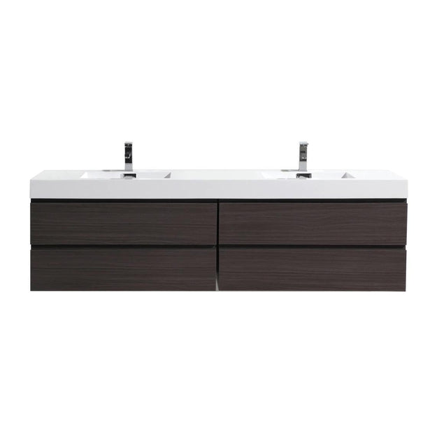Moreno Bath Fortune 78.75 Inch Dark Gray Oak Wall Mounted Modern Vanity with Double Acrylic Sinks
