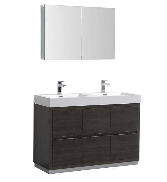 "Fresca Valencia 48"" Gray Oak Free Standing Double Sink Modern Bathroom Vanity with Medicine Cabinet - Bathroom Vanity Portal"