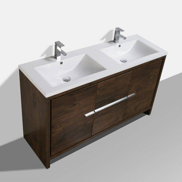 "Moreno Mod 60"" Double Sink Rosewood Modern Bathroom Vanity - Bathroom Vanity Portal"