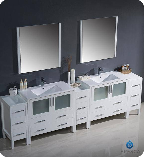 "Fresca Torino 108"" White Modern Double Sink Bathroom Vanity with 3 Side Cabinets and Integrated Sinks - Bathroom Vanity Portal"