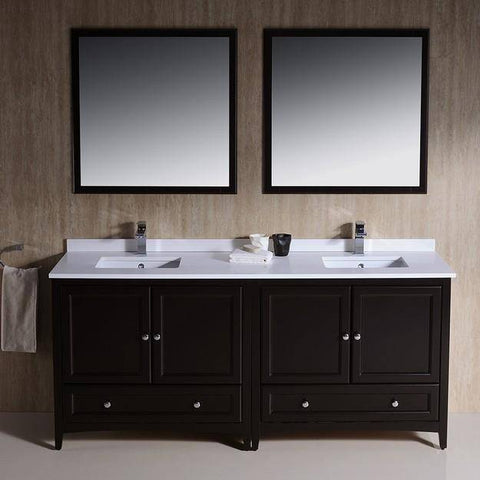 "Image of Fresca Oxford 72"" Espresso Traditional Double Sink Bathroom Vanity - Bathroom Vanity Portal"