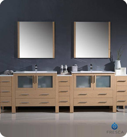 "Image of Fresca Torino 108"" Light Oak Modern Double Sink Bathroom Vanity with 3 Side Cabinets and Integrated Sinks - Bathroom Vanity Portal"