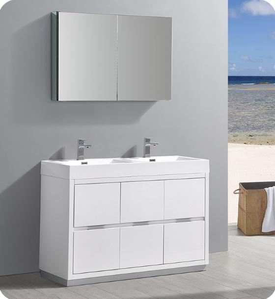 "Fresca Valencia 48"" Glossy White Free Standing Double Sink Modern Bathroom Vanity with Medicine Cabinet - Bathroom Vanity Portal"