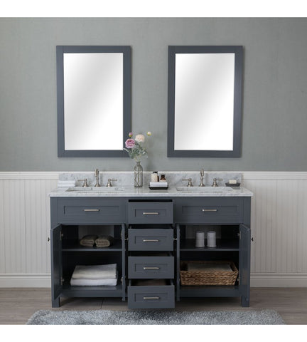 Image of Furnishmore  Springfield 60 in. Double Bathroom Vanity in Gray with Mirror