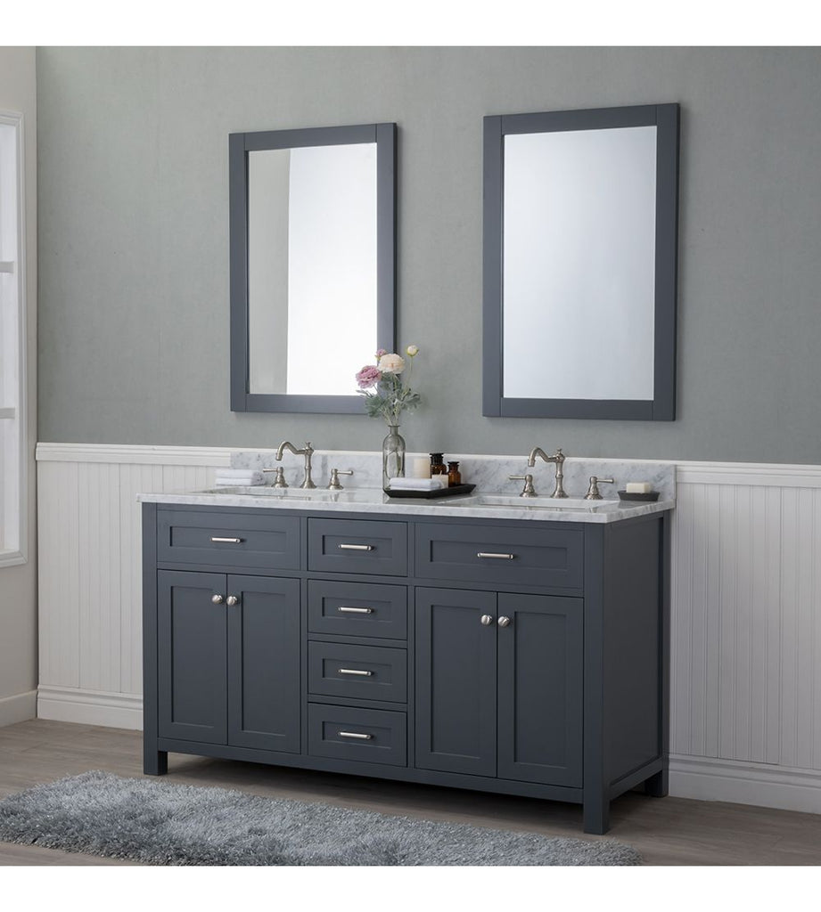 Furnishmore  Springfield 60 in. Double Bathroom Vanity in Gray with Mirror