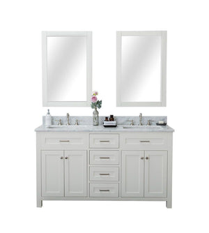 Furnishmore Springfield 60 in. Double Bathroom Vanity in White with Mirror