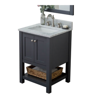 Furnishmore Woodville 24 in. Single Bathroom Vanity in Gray with Mirror