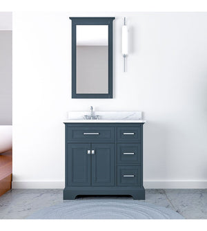 Furnishmore Pittsburgh 37 in Single Bathroom Vanity in Gray with Mirror