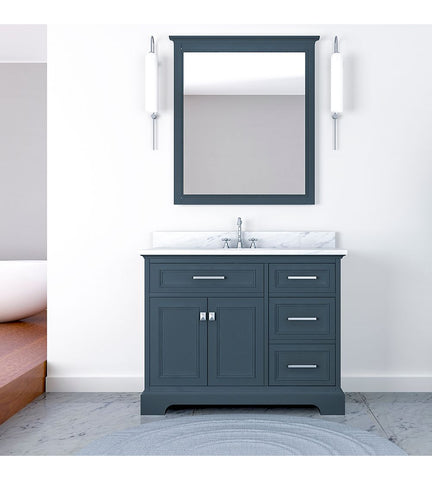 Image of Furnishmore Pittsburgh 43 in Single Bathroom Vanity in Gray with Mirror