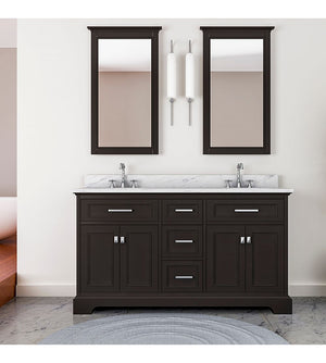 Furnishmore Pittsburgh 61 in Double Bathroom Vanity in Espresso with Mirror