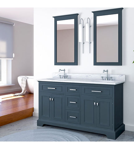 Image of Furnishmore Pittsburgh 61 in Double Bathroom Vanity in Gray with Mirror