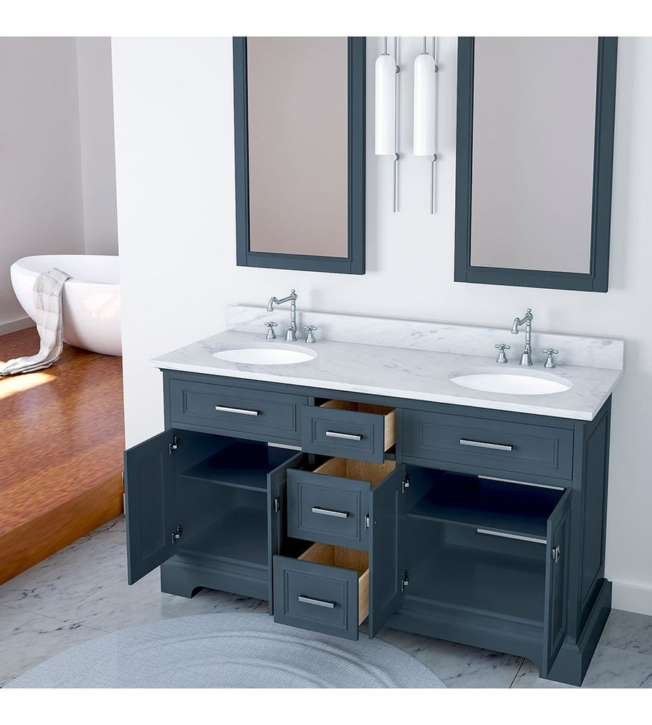 Furnishmore Pittsburgh 61 in Double Bathroom Vanity in Gray with Mirror