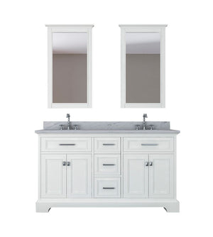 Furnishmore Pittsburgh 61 in Double Bathroom Vanity in White with Mirror