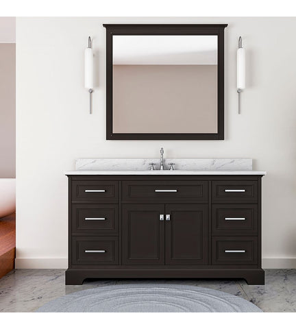 Image of Furnishmore Pittsburgh 61 in Single Bathroom Vanity in Espresso with Mirror