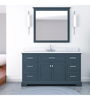 Furnishmore Pittsburgh 61 in Single Bathroom Vanity in Gray with Mirror