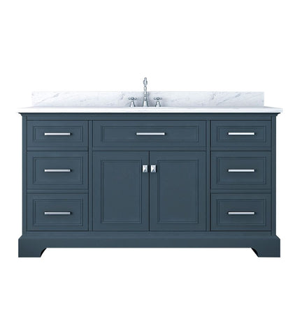 Image of Furnishmore Pittsburgh 61 in Single Bathroom Vanity in Gray with Mirror