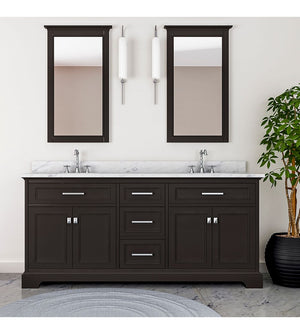 Furnishmore  Pittsburgh 73 in Double Bathroom Vanity in Espresso with Mirror