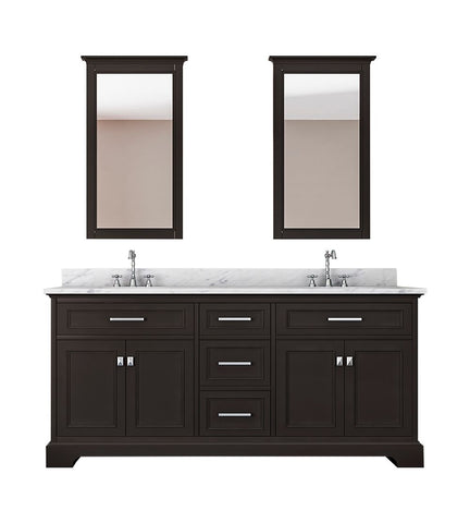 Image of Furnishmore  Pittsburgh 73 in Double Bathroom Vanity in Espresso with Mirror