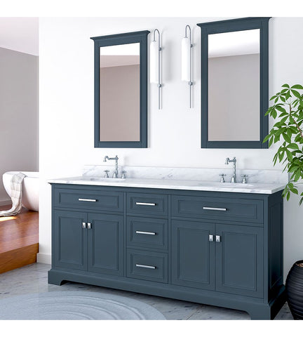 Furnishmore  Pittsburgh 73 in Double Bathroom Vanity in Gray with Mirror