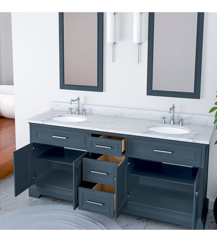 Image of Furnishmore  Pittsburgh 73 in Double Bathroom Vanity in Gray with Mirror