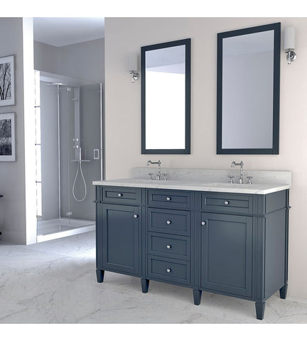 Image of Furnishmore Allentown 60 in Double Bathroom Vanity in Gray with Mirror
