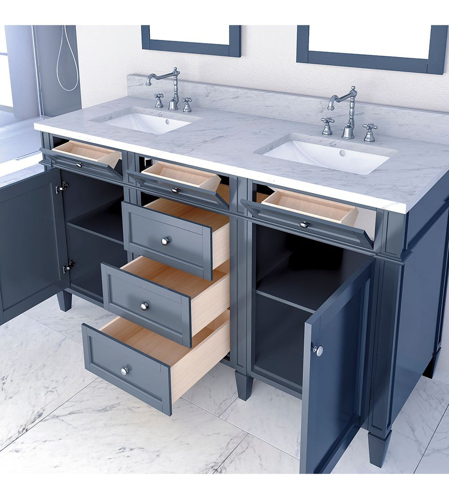 Furnishmore Allentown 60 in Double Bathroom Vanity in Gray with Mirror