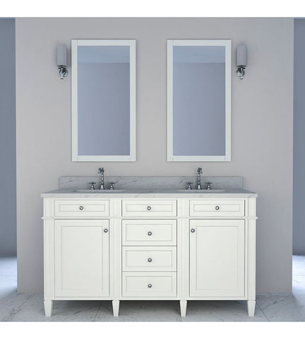 Furnishmore Allentown 60 in Double Bathroom Vanity in White with Mirror