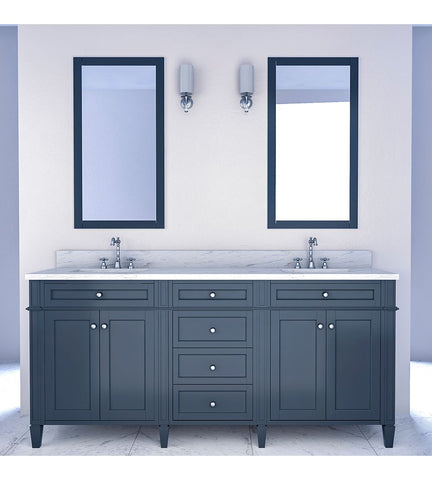 Furnishmore Allentown 72 in Double Bathroom Vanity in Gray with Mirror