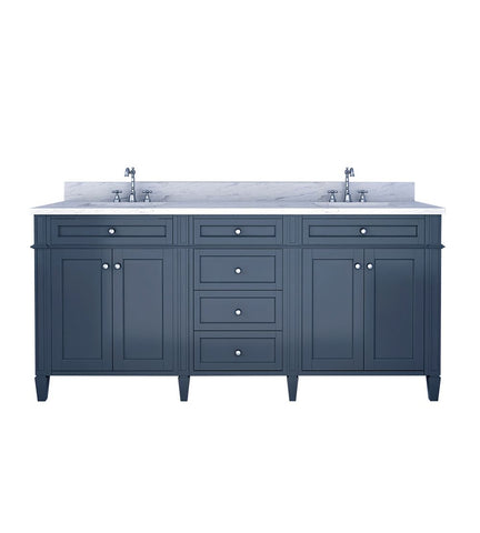 Image of Furnishmore Allentown 72 in Double Bathroom Vanity in Gray with Mirror