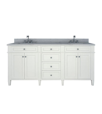 Image of Furnishmore Allentown 72 in Double Bathroom Vanity in White with Mirror