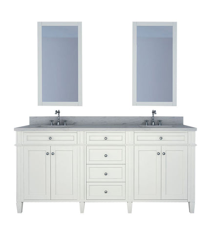 Furnishmore Allentown 72 in Double Bathroom Vanity in White with Mirror