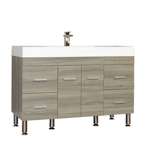 Furnishmore  Greenville 47 in. Single Modern Bathroom Vanity in Gray with Mirror