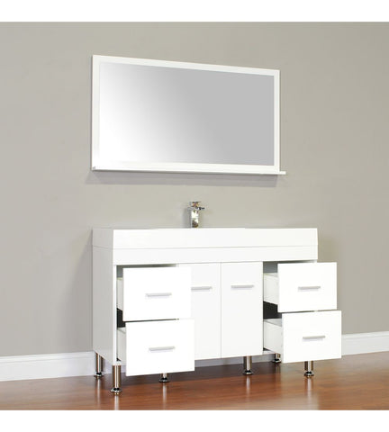 Furnishmore Greenville 47 in. Single Modern Bathroom Vanity in White with Mirror