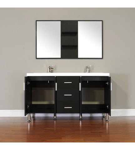 Image of Furnishmore  Greenville 56 in. Double Modern Bathroom Vanity in Black with Mirror