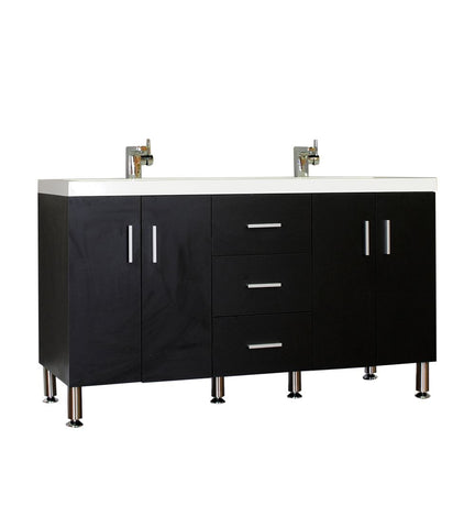 Furnishmore  Greenville 56 in. Double Modern Bathroom Vanity in Black with Mirror