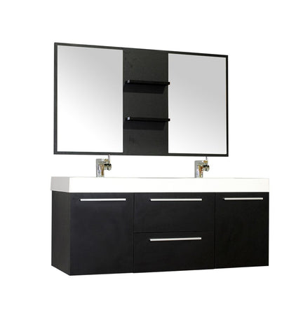 Image of Furnishmore  Greenville 54 in. Double Wall Mount Modern Bathroom Vanity in Black with Mirror