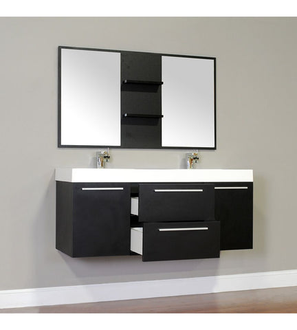 Furnishmore  Greenville 54 in. Double Wall Mount Modern Bathroom Vanity in Black with Mirror