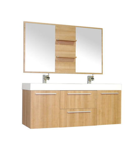 Image of Furnishmore  Greenville 54 in. Double Wall Mount Modern Bathroom Vanity in L. Oak with Mirror