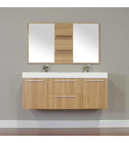 Furnishmore  Greenville 54 in. Double Wall Mount Modern Bathroom Vanity in L. Oak with Mirror