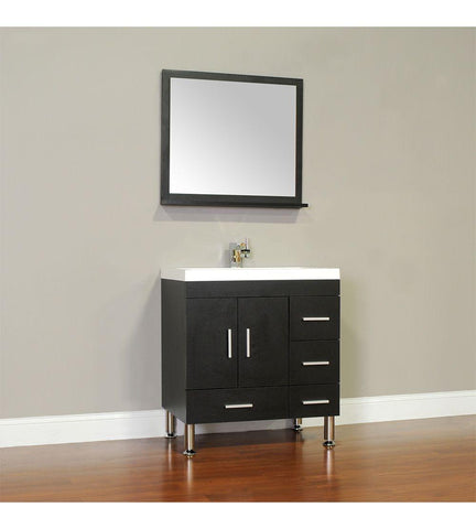 Furnishmore Greenville 30 in. Single Modern Bathroom Vanity Black with Mirror