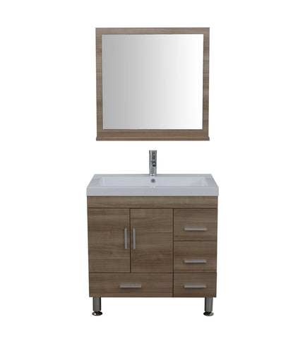 Furnishmore  Greenville 30 in. Single Modern Bathroom Vanity Light Oak with Mirror