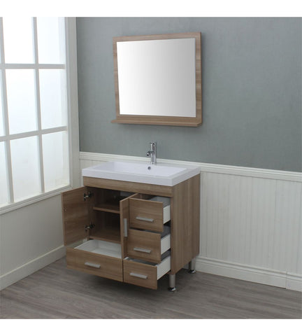 Image of Furnishmore  Greenville 30 in. Single Modern Bathroom Vanity Light Oak with Mirror