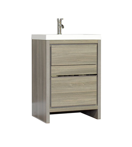 Furnishmore  Greenville 24 in. Single Modern Bathroom Vanity Gray with Mirror
