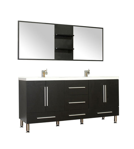 Furnishmore Greenville 67 in. Double Modern Bathroom Vanity in Black with Mirror