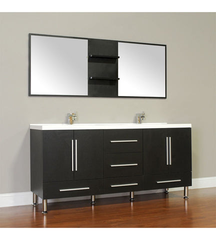 Image of Furnishmore Greenville 67 in. Double Modern Bathroom Vanity in Black with Mirror