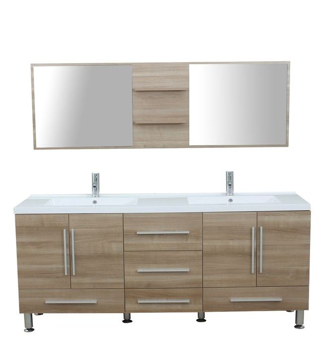 Furnishmore Greenville 67 in. Double Modern Bathroom Vanity in Light Oak with Mirror