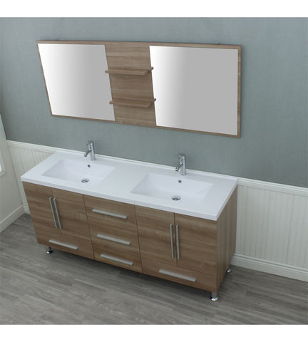 Image of Furnishmore Greenville 67 in. Double Modern Bathroom Vanity in Light Oak with Mirror